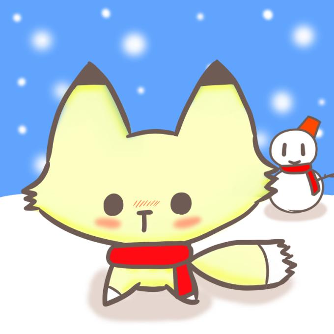 真っ赤なマフラーの子ぎつねと雪だるま