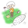ゴルフをするおじいさんのイラスト!しかもナイスショット!