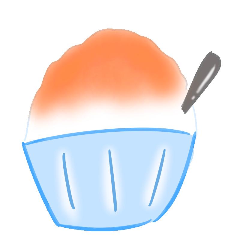 懐かしいかき氷の無料イラスト(オレンジ)