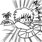 イケるとこまで!海で泳ぐ少年の無料イラスト