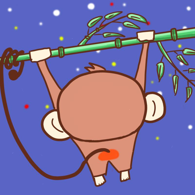 竹にぶら下がって星を眺めるサル