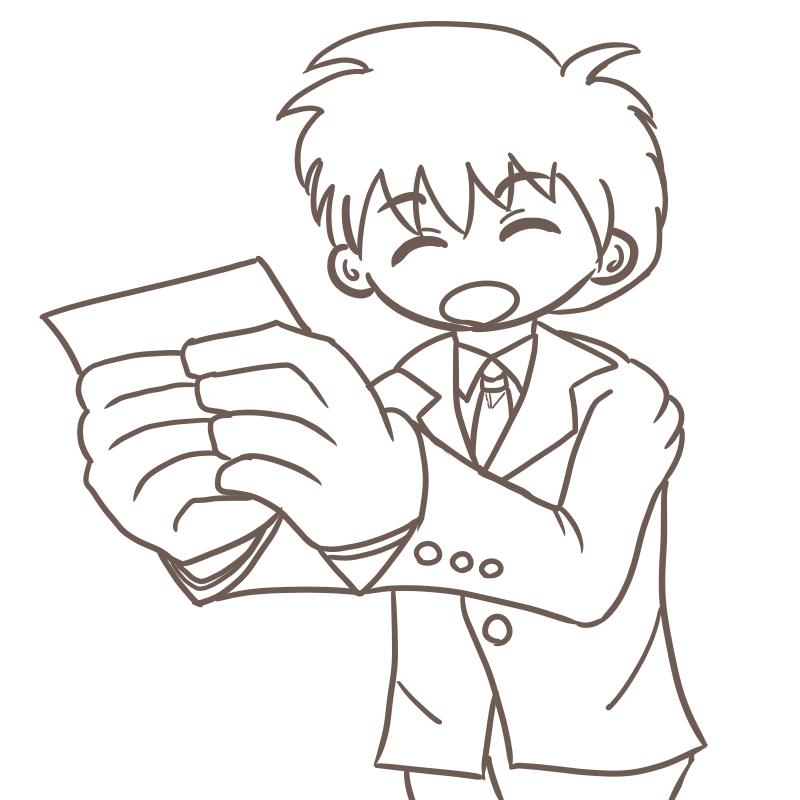 フレッシュマン!名刺交換する新人サラリーマンのイラスト(線画)