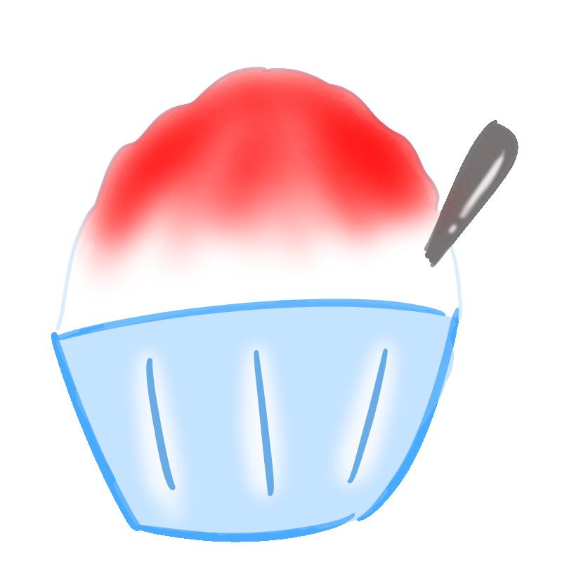 懐かしいかき氷の無料イラスト(いちご)
