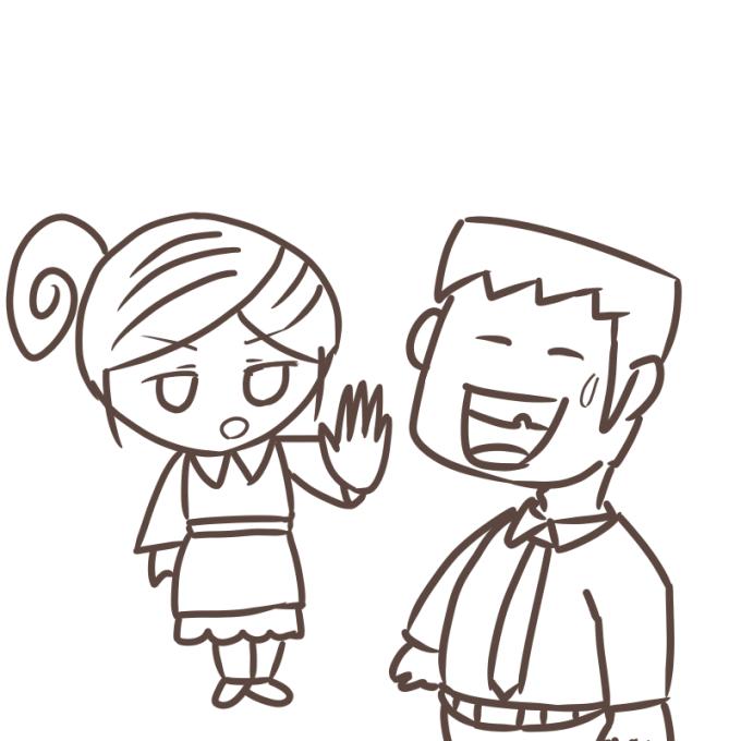 夫婦喧嘩 奥さんのターン 線画