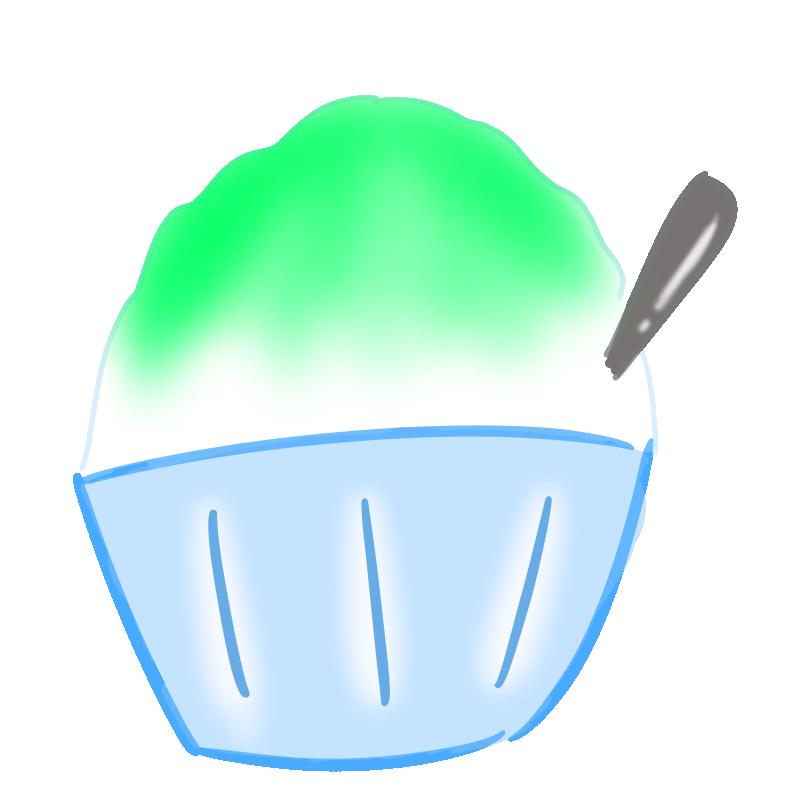 懐かしいかき氷の無料イラスト(メロン)