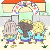 ポーズはワンピース風!入園式に挑む三人娘のイラスト