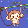 竹にぶら下がる可愛いサル!2016年年賀状 猿のイラスト 七夕にも