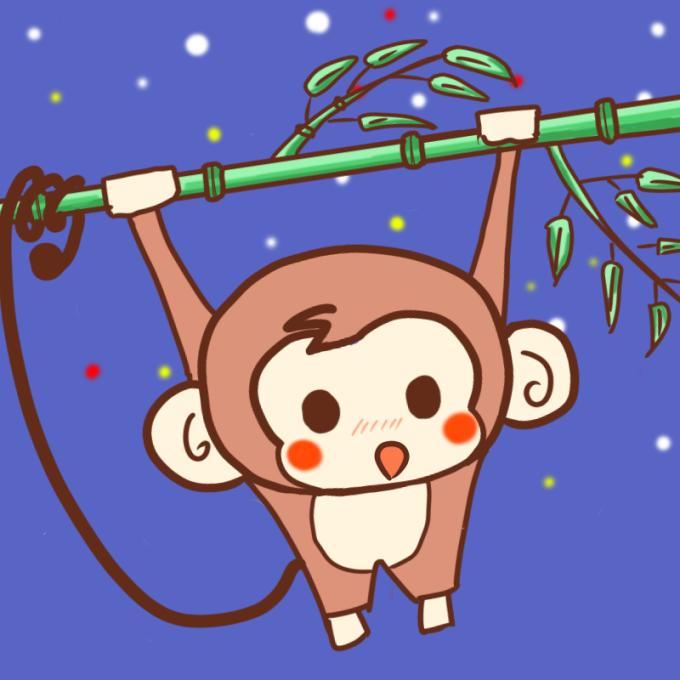 竹にぶら下がる可愛いサル(夜)