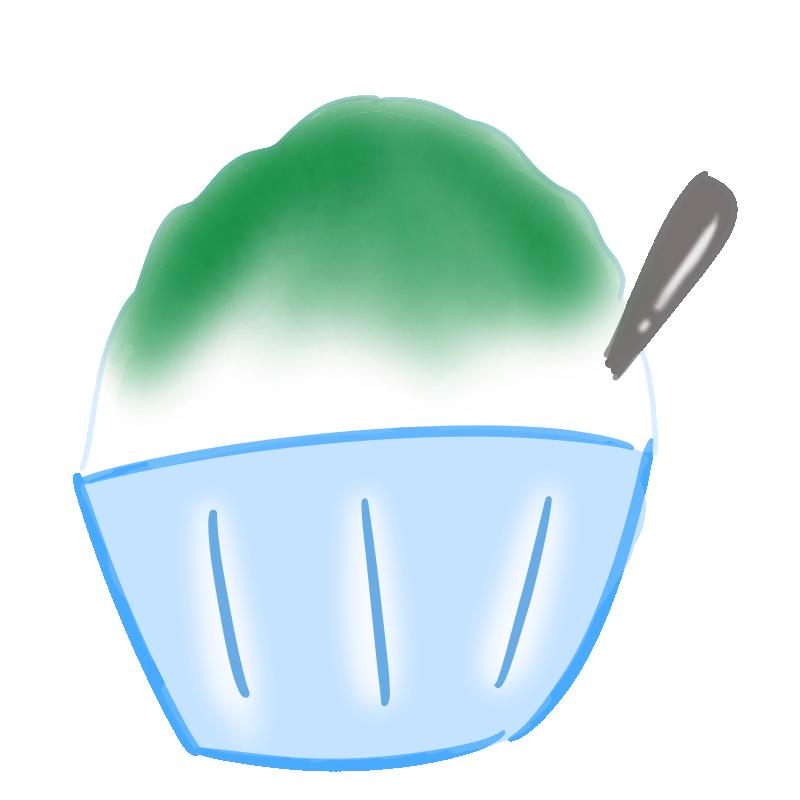 懐かしいかき氷の無料イラスト(抹茶)