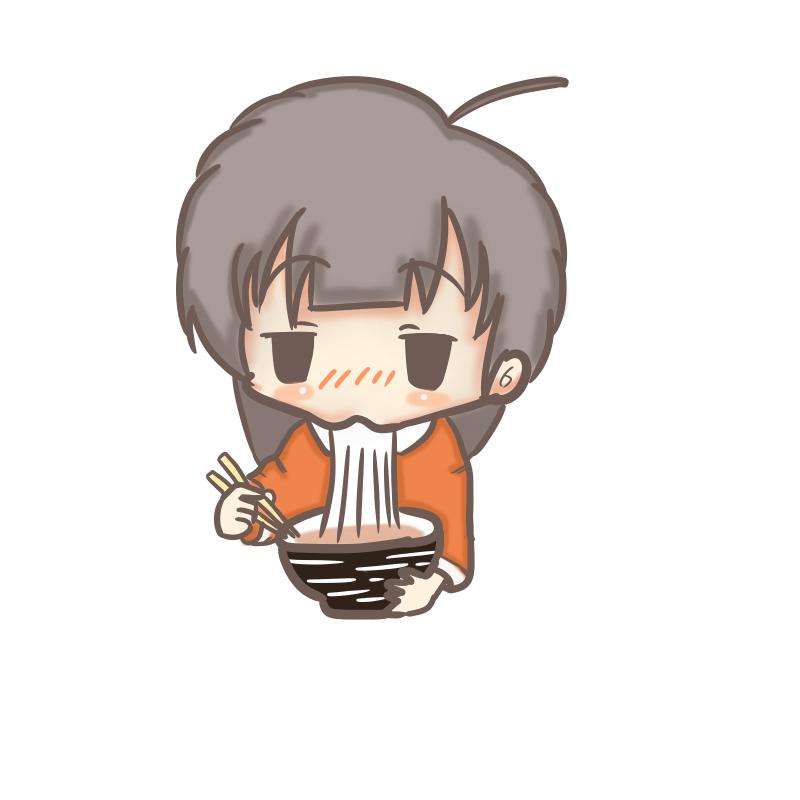 うどんを食べるOL(小)