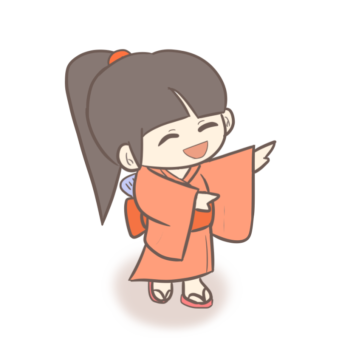 試作版!盆踊りを踊る女の子のイラスト