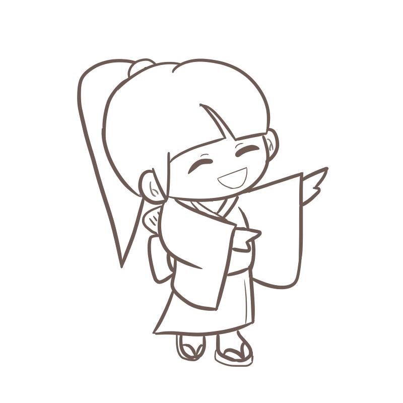 試作版!盆踊りを踊る女の子のイラスト(線画)
