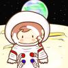 「サル、月面に立つ!」…なフリーイラスト