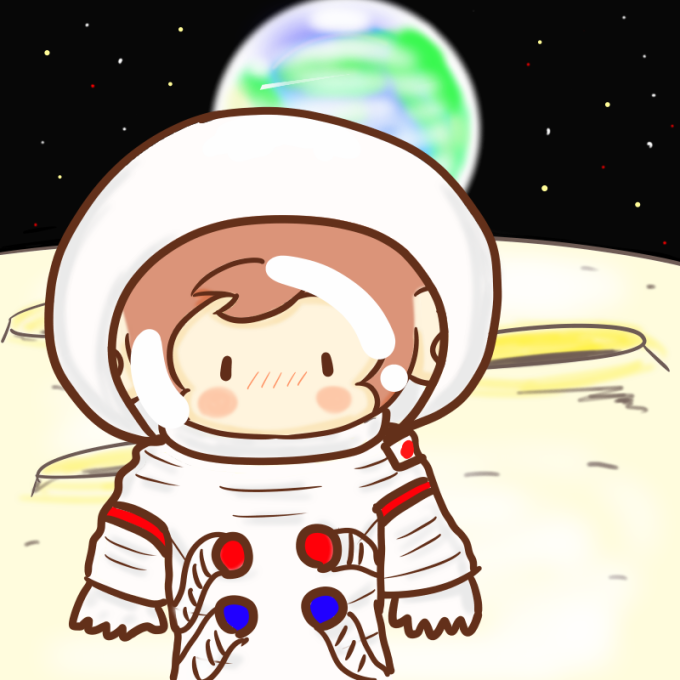 月面に降り立ったサルのイラスト