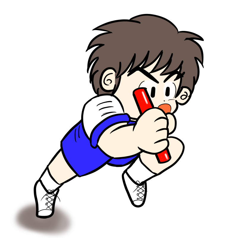 運動会のリレーで猛烈なラストスパートを掛ける男の子(カラー)