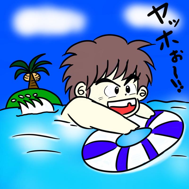 海で泳ぐ小学生の男の子の無料イラスト