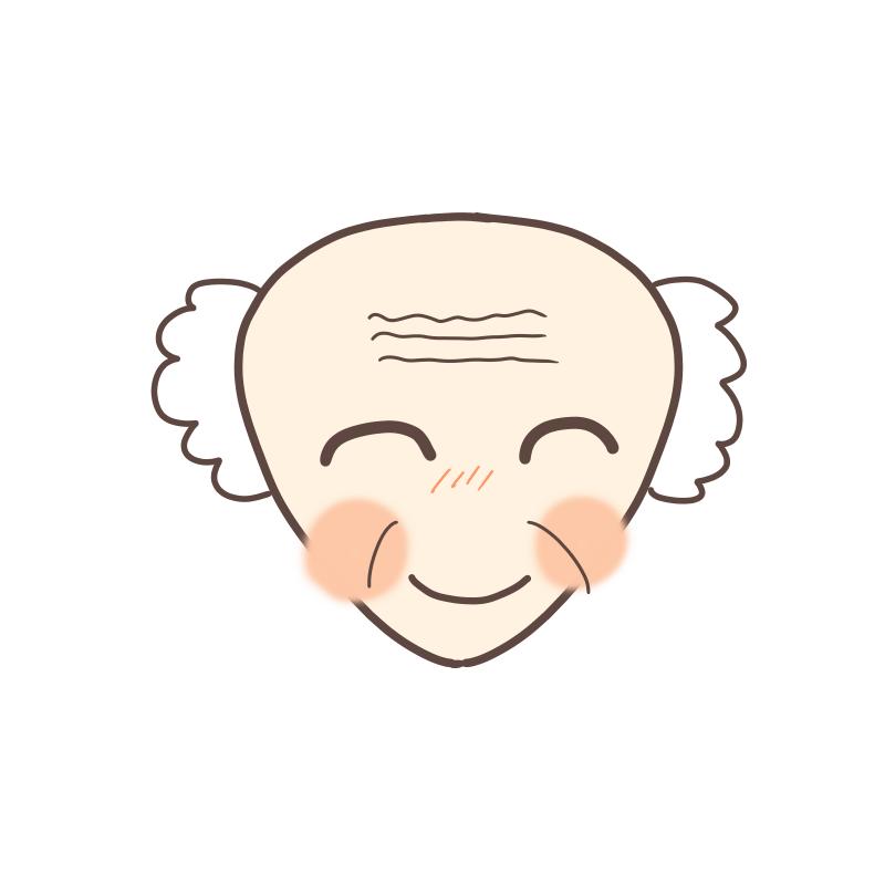 三角顔のおじいさんのイラスト