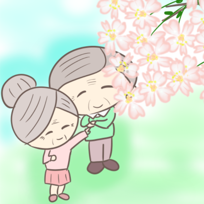 桜を見上げる、おじいさんとおばあさんのイラスト(アップ)
