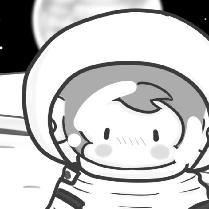月面に降り立ったサルのイラスト(ドアップ)