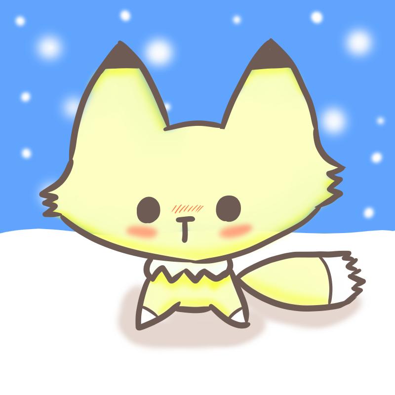 子ぎつね 雪背景