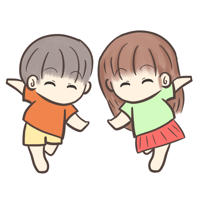 裸足で走る男の子と女の子のイラスト2
