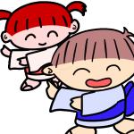 盆踊りをする男の子と女の子の無料イラスト
