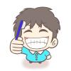 笑顔で歯磨き!男の子(幼稚園児)のフリーイラスト