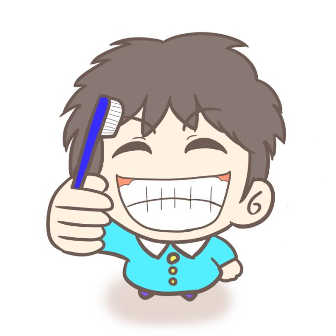 慢心の笑顔で歯磨きする幼稚園児(男の子)のイラスト(カラー)