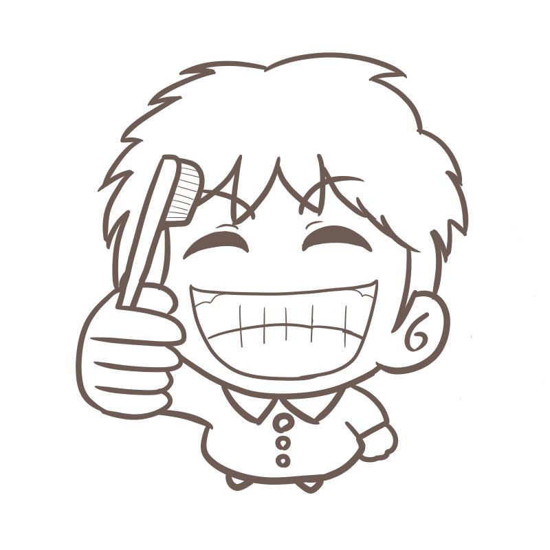 慢心の笑顔で歯磨きする幼稚園児(男の子)のイラスト(線画)