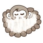 いい湯だなぁ~♪露天風呂を満喫するサルの無料イラスト