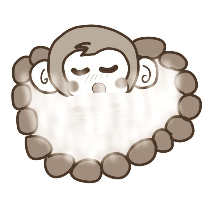 露天風呂を満喫するサル(セピア色)