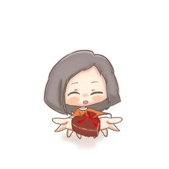 バレンタインチョコを渡す女の子
