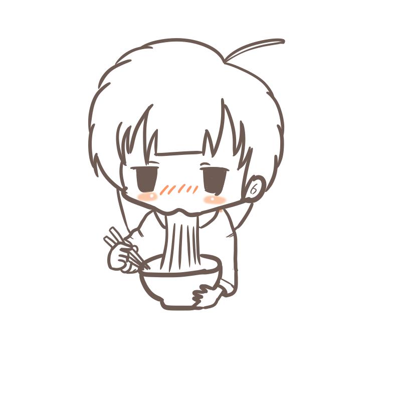 うどんを食べるOL(小線画)