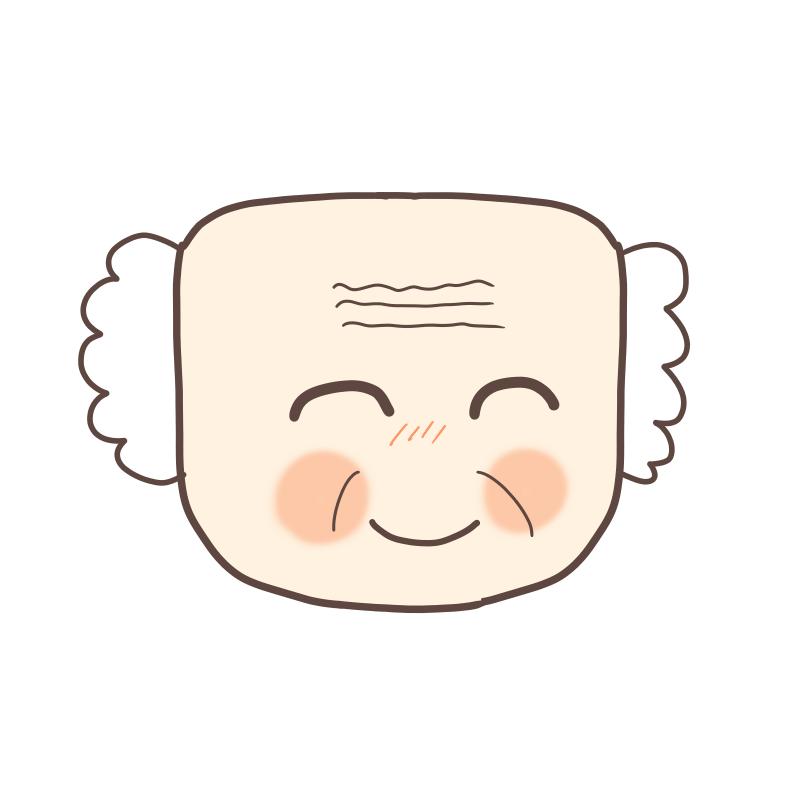 四角い顔のおじいさんのイラスト