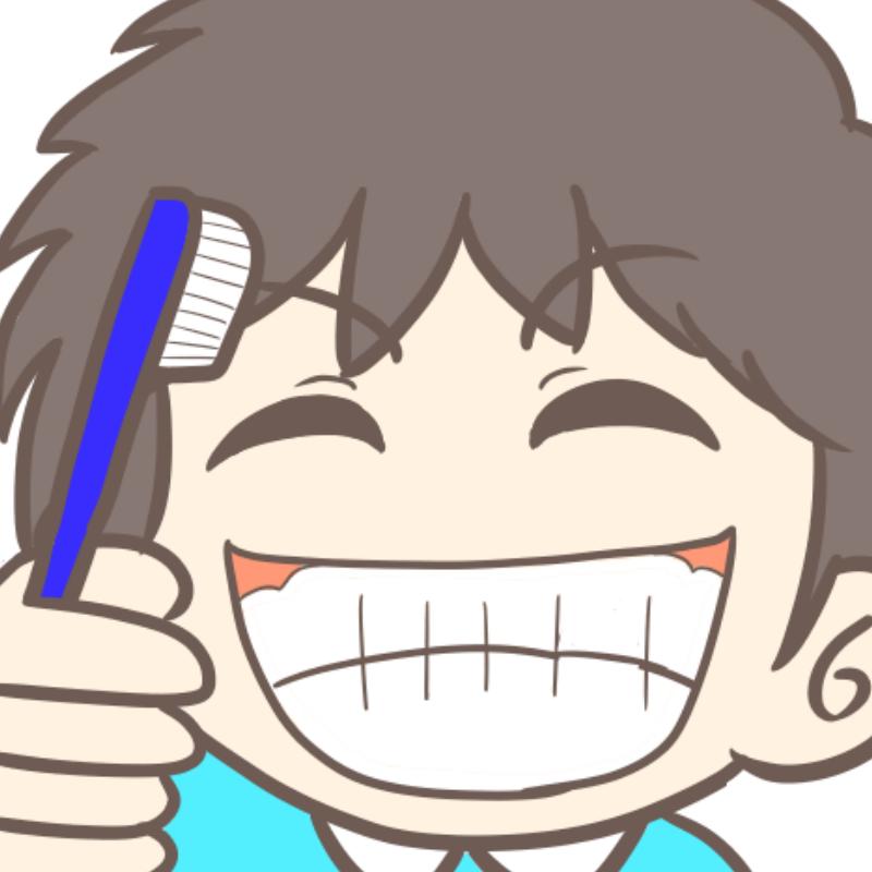 慢心の笑顔で歯磨きする幼稚園児(男の子)のイラスト(アップ カラー)