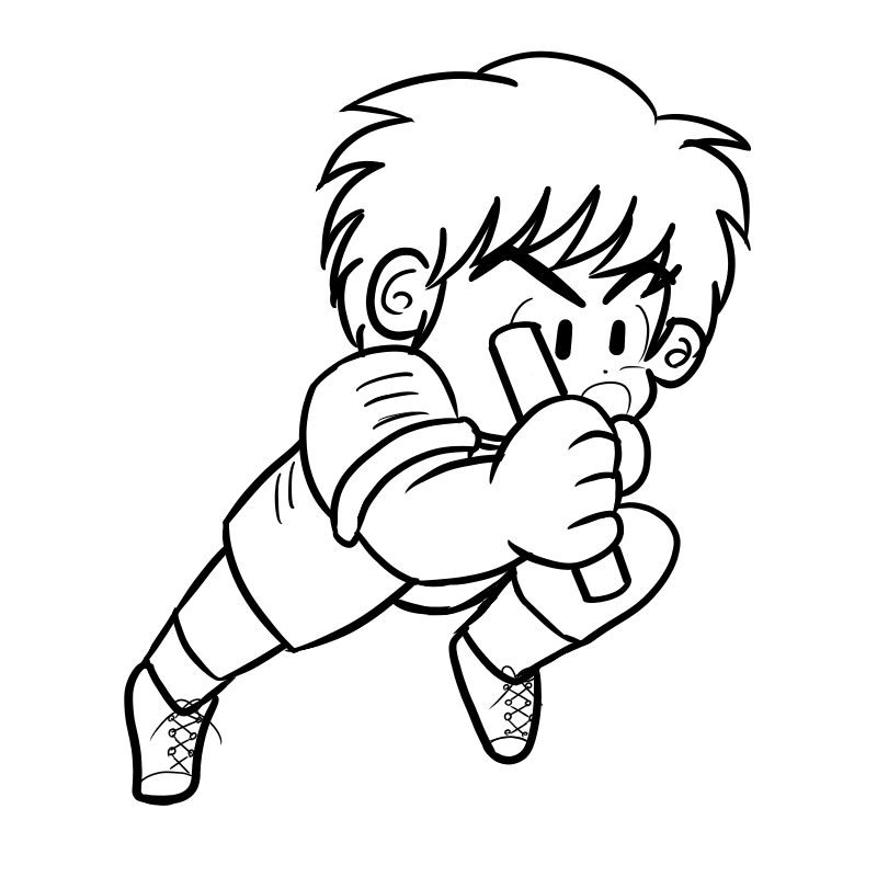 運動会のリレーで猛烈なラストスパートを掛ける男の子(線画)