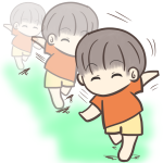 裸足で走る男の子のフリーイラスト