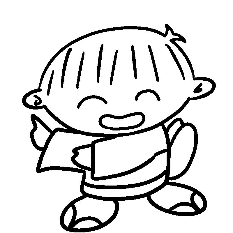 盆踊りを踊る男の子1(線画)