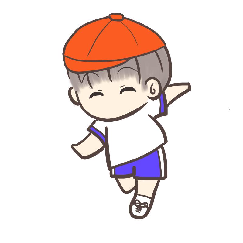 運動会 かけっこ 男の子 赤帽子
