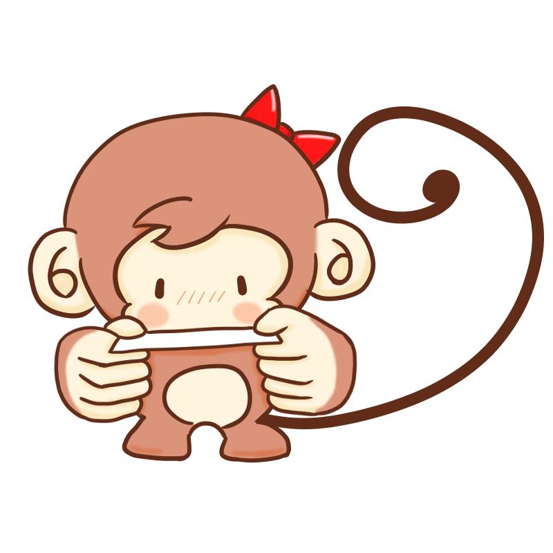 名刺を渡すサルのイラスト(女の子)