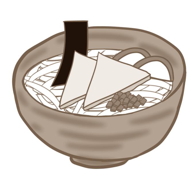 きつねうどんのイラスト(セピア色)