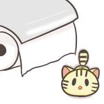 トイレットペーパーと猫のフリーイラスト