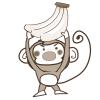とったどぉ~!バナナを捕獲したサルのイラスト