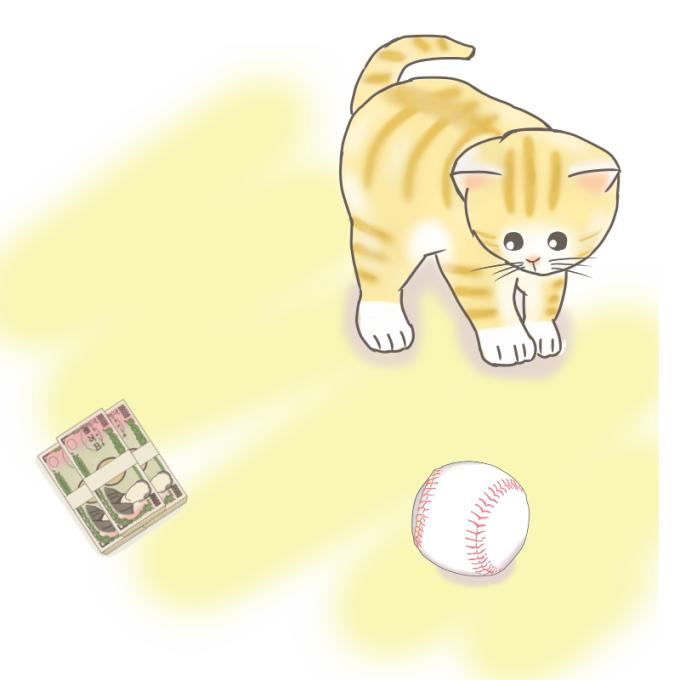 猫と札束のイラスト