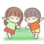 裸足で走る子供のイラスト