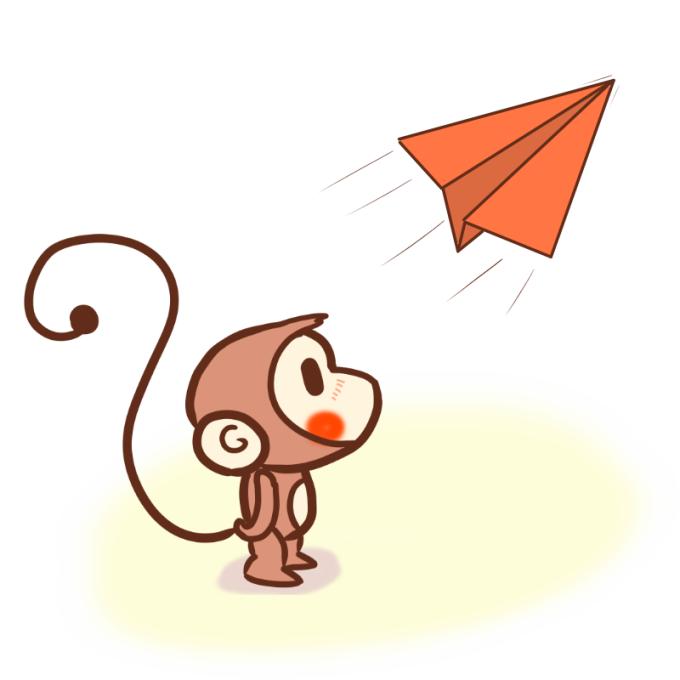 紙紙飛行機を眺めるサル