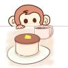 絶対喰ってやる!分厚いホットケーキを狙っているサルのフリーイラスト