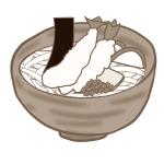 おぉ~贅沢!天ぷらうどんの無料イラスト