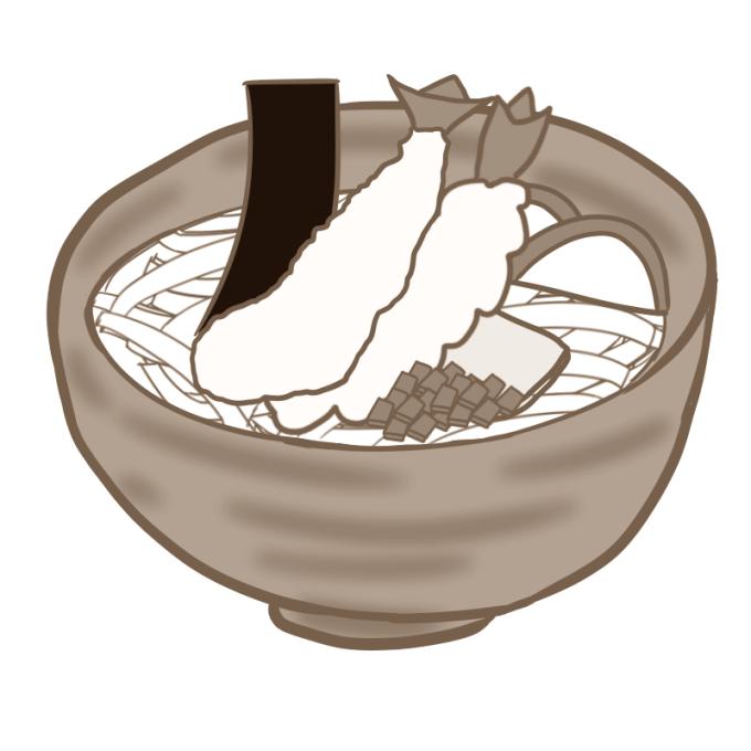 天婦羅うどんのイラスト(セピア)