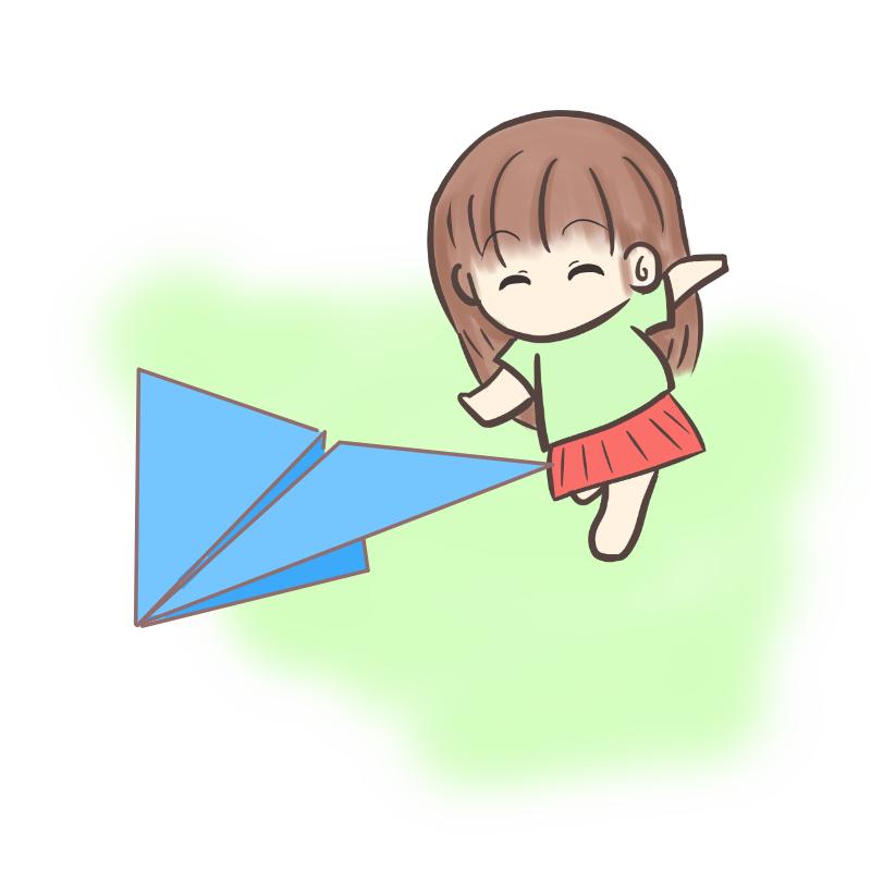 紙飛行機を追いかける女の子